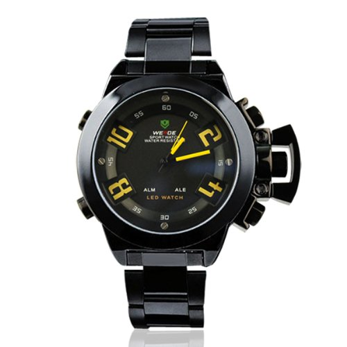 WEIDE WH1008-Yellow - Reloj para Hombres, Correa de Acero Inoxidable Color Negro