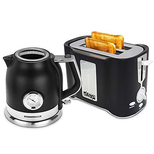 XYY Wasserkocher & Toaster Set mit 1,8 Liter Wasserkocher und 2 Scheiben Toaster, schwarz