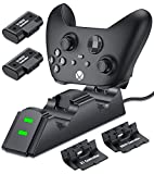 Rechargeable Battery Pack with Controller Charger for Xbox One& Series Controller Charger Kit, Controller Charger Station for Xbox One/One S/One X/One Elite/Series X|S, 2X 1200mAh Xbox Battery Pack