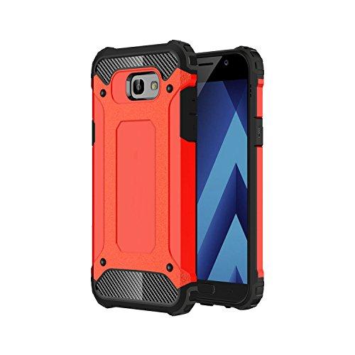 Ycloud Funda para Samsung Galaxy A7 (2017) Doble Capa Híbrida Armor Silicona TPU + Duradero PC Case Shock-Absorción Armadura Rojo Carcasa para Samsung Galaxy A7 (2017)