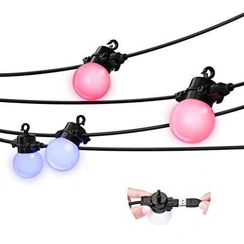 Elrigs LED Lichterkette Farbwechsel RGBW, Erweiterungspack, dimmbare G45 LED Lampe für Innen/Außen, 3 Meter, 4 Lampe,IP65
