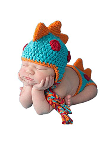Lppgrace Newborn Baby Boy Photography Props Crocheted Dinosaur Outfit Handmade Photo Prop