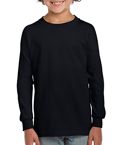 Gildan unisex child Ultra Cotton Youth Long Sleeve T-shirt, 2-pack T Shirt, Black, Medium US