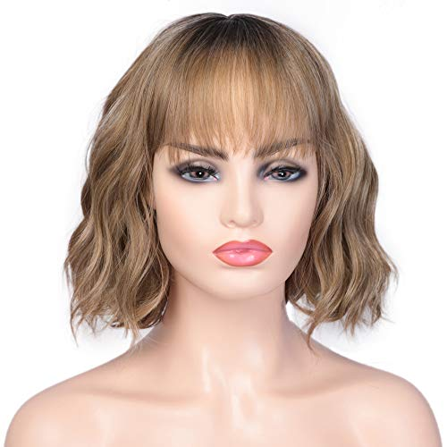 ENTRANCED STYLES Short Wavy Bob Wigs with Bangs for Women Brown Ombre Synthetic Wig with Black Roots Synthetic Wigs for Daily Wear