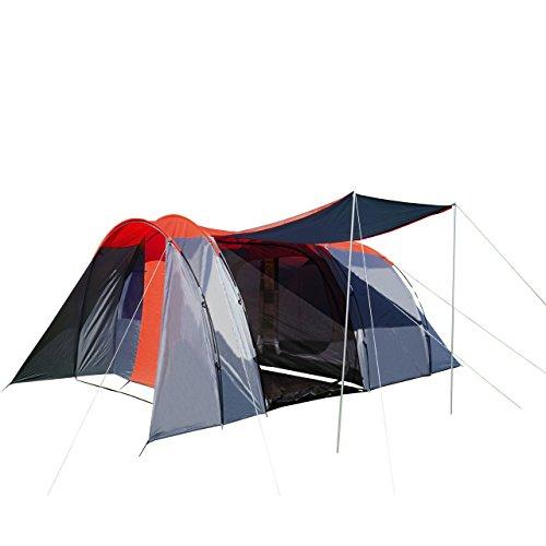 Campingzelt HWC-A99, 6-Mann Zelt Kuppelzelt Festival-Zelt, 6 Personen ~ rot/grau