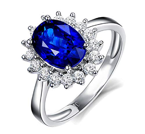 Gespout Noble Diamond Ring Elegant Crystal Rings Wedding Jewelry For Women Girlfriend Diameter (Blue,Size M)