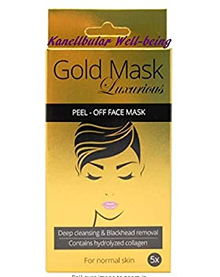Kanellbular Luxurious 24K Gold Blackhead Mask Masks X 5 Pieces with Hydrolysed Collagen Anti Ageing and Firming; Nourishing and Moisturising; Restoring Skin elasticity from The Netherlands
