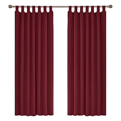 UMI. Essentials Thermal Insulated Decorative Bedroom Curtains Tab Top Blackout Curtains for Livingroom 55 x 70 Inch Red 2 Panels