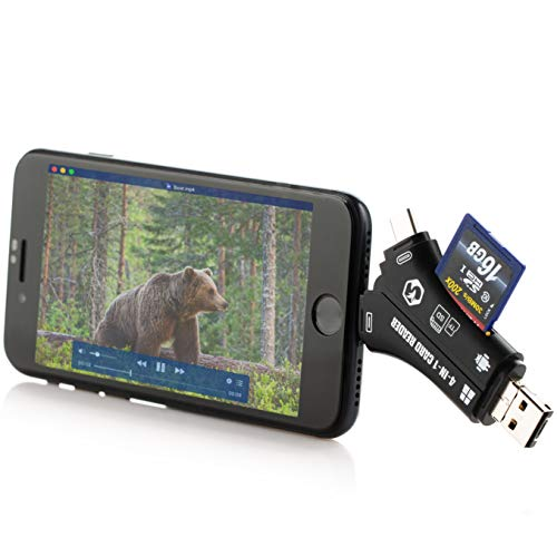 Foxelli Trail Camera Viewer – SD & TF Micro SD Card Reader for iPhone, iPad, Mac & Android, 4-in-1 Game Camera Card Reader to View Photos & Videos from Any Hunting Camera on a Smartphone