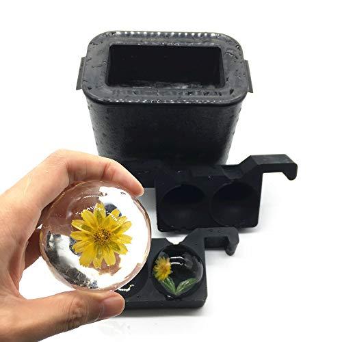 Bangp Kristallklarer-Eiskugel-ErstellerJumbo-Eisbälle, kugelförmige Whisky-Tablettformmaschine für Eisbälle, blasenfrei mit 2,36 Zoll Kugeln Kapazität für zu Hause Cocktails und Getränke (2BALL)