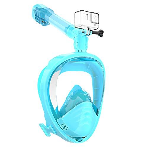 Elegear Máscara de Buceo del HD[2020 Nuevo], 180°Vista Máscara de Snorkel Anti-Niebla y Anti-Fugas con diseño panorámico de Cara Completa y Silicona FDA para Adultos y Niños(Verde,L/XL)