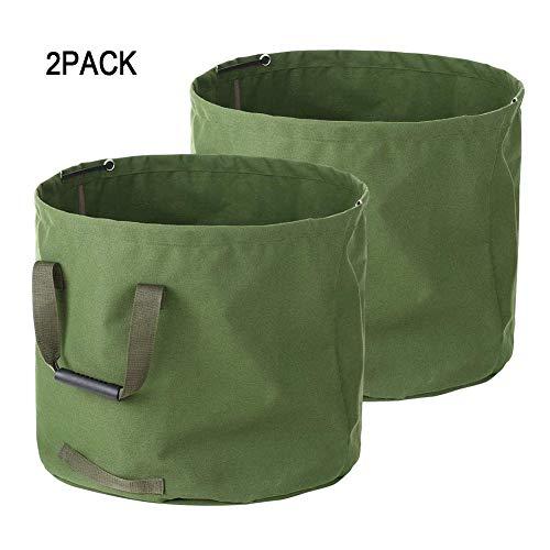MILECN Bolsa para desechos de jardín de Hojas de césped, Tela de Lona Militar Resistente con Asas, contenedor de Basura de jardinería multipropósito Reutilizable, 33 galones,2Pack