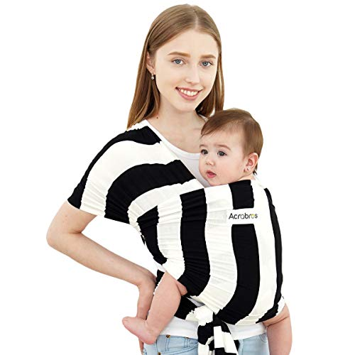 ACRABROS Baby Wrap Carrier,Hands Free Baby Carrier Wrap Sling,Stretch Cotton,Lightweight,Breathable,Perfect for Newborn Infants and Babies Shower Gift,Black/White 2 inch Stripe
