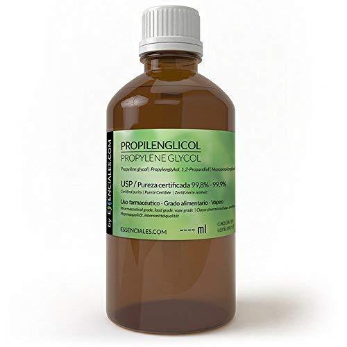 Essenciales - Propylène Glycol/Monopropylène Glycol USP, 500 ml | Pureté maximale et certifiée 99,8% a 99,9% - PG Base
