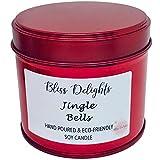 Vela perfumada Jingle Bells, cera de soja, respetuosa con el medio ambiente, sin crueldad + vela vegana, 200 ml hecha a mano en el Reino Unido | Vela de Navidad de lujo