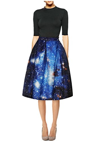 Uideazone Donne vita alta pieghe Midi pattinatore Galaxy Dress Skirt