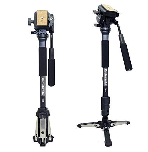 """Koolehaoda Professionelle Kamera Einbeinstativ und Fluid-Videokopf mit  Standfüße für drei Füße, Max: 58,2 \"""""""