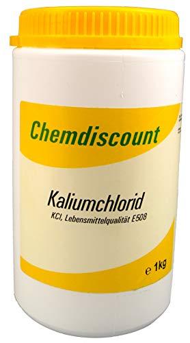 Chemdiscount 1kg Kaliumchlorid in Lebensmittelqualität E508, luftdicht verschließbare Dose