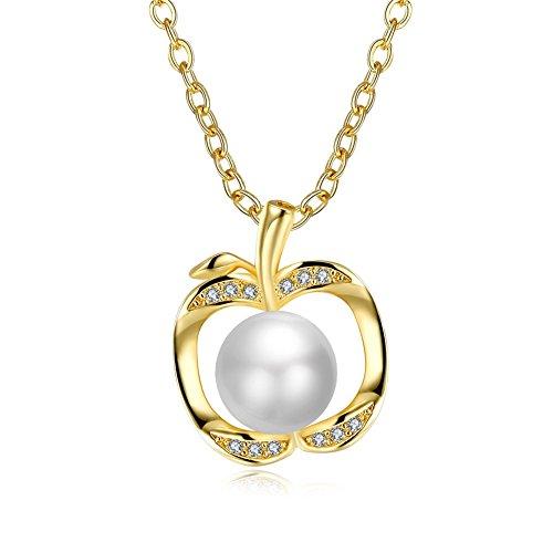 Good dress Pflanze Perle Weibliche Süße Wind Kupfer Kabel Kette Anhänger Halskette Modetrend Halskette Halskette Schmuck Wilden Schmuck, Weißes Gold