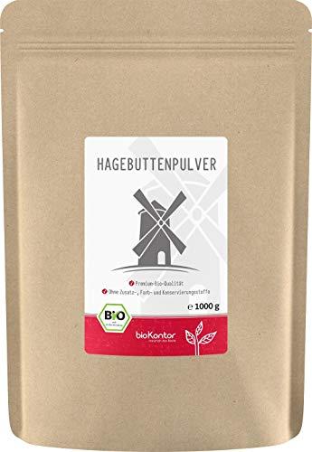 Bio Hagebuttenpulver (1000g / 1kg) in Rohkostqualität von bioKontor | ganze Hagebutten vermahlen | BIO - ohne Zusätze