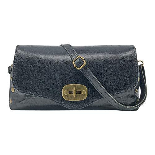 Damen Umhängetasche, Echtes Leder Dollar Grant, Made in Italy, Frida-Muster, Kleine mittlere halbmondförmige Handtasche und Elegante Umhängetasche für Damen und Mädchen, schwarz