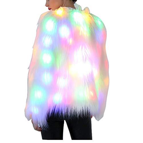 Gaga city Weihnachten Damen Kleidung, Damen Kunstpelzmantel Weiß Flauschige Mantel LED Kostüm Leistung Tanzen Cosplay Kostüm Jacke Nightclub Outwear Faux Pelz Kurz Jacke LED-RGB/4XL