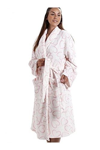 CAMILLE Womens Farbe weichen Fleece-Bademantel 38/40 White Heart