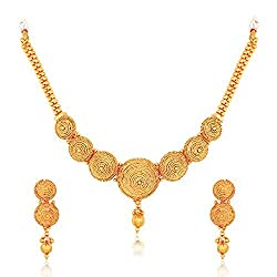 Meenaz Jewellery Gold plated Jewellery Set Necklace for womens with Ear  rings for girls Traditional One gram Copper Pearl Kundan Pendant Necklace  Set ... 8a44984807f0b