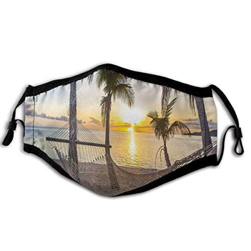 P PIPIGOU Face Cover Paradise Beach With Hammock And Coconut Palm Trees Horizon Coast Vacation Scenery Balaclava Reusable Anti-Dust Mouth Bandanas Running Neck Gaiter with 2 for Men Women
