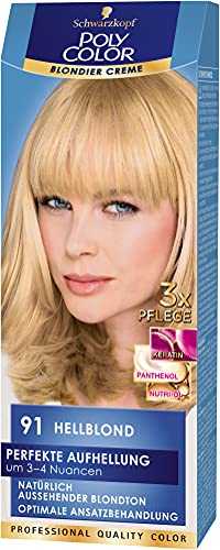 Poly Color Blondier Creme Haarfarbe, 91 Hellblond, 3er Pack (3 x 150 ml)