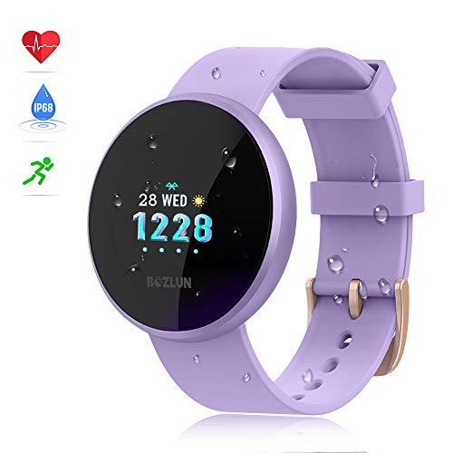 reloj inteligente mujer,reloj de monitor de ritmo cardíaco con pantalla a color, pantalla de reloj con efecto de despertador automático IP68 y reloj inteligente para iPhone Android
