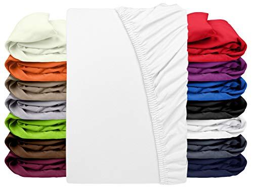 npluseins Premium Jersey-Lycra Spannbettlaken – auch für Boxspringbetten 556.682, weiß