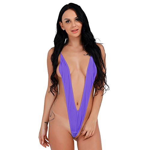 YiZYiF Sexy Women One Piece Sling Shot Underwear Bikini Monokini Swimwear Purple