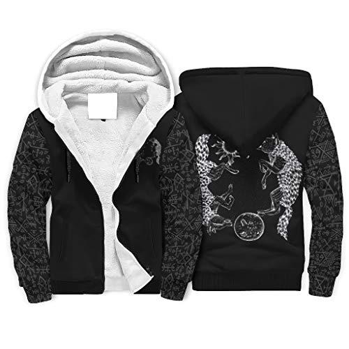 Shinelly Sudadera con capucha para hombre con diseño de lobo vikingo, con estampado de estrellas, con forro polar y bolsillos blanco XXL