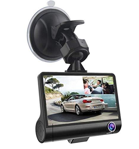 HaoYiShang Caméra embarquée de voiture HD 1080p 10,2 cm avec caméra embarquée à trois objectifs, vision nocturne, grand angle
