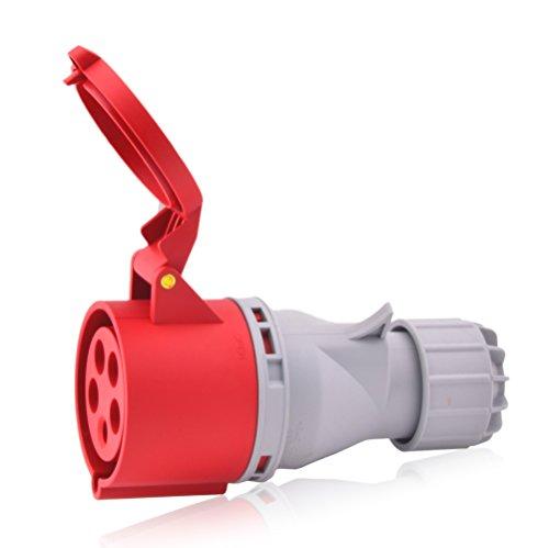 CEE Starkstrom Steckdose Intratec 32A 400V 6h IP44 5-polig (3P+N+E): IEC-60309 Industrie und Mehrphasenstecker robuste Industriequalität