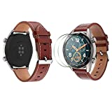 Compatible with Huawei Watch GT/GT2 Leather Watch Band and Screen Protectors, SourceTon Leather Replacement Wristbands (Brown) with Metal Buckle and Screen Films for Huawei Watch GT/GT2