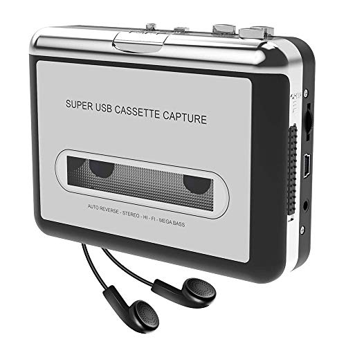 Docooler USB Convertidor Cinta a MP3 and Cassette Player,convierte los cassettes de audio a los cassettes de MP3 digitales para grabar en MP3 o Windows