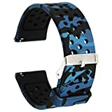 Veczom for Gizmo Watch Bands Galaxy Watch Active Bands, Galaxy watch 42mm band, Gear S2 Classic SM-R732/R735, 20mm Quick Release Soft Silicone Band for Gear Sport Smart Watch (Blue Camo, 20mm)