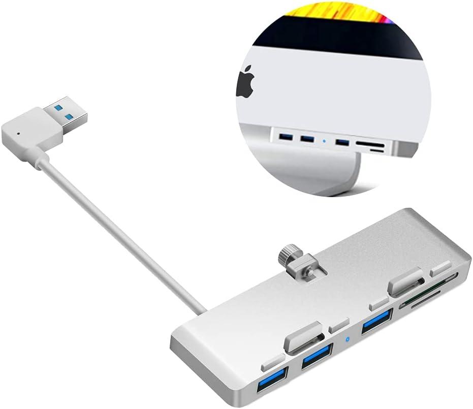 Rocketek iMac Hub Aluminum 3-Port USB 3.0 Hub Adapter Docking Station with SD & Micro SD Card Reader Combo - Ultra Slim Premium Aluminum USB 3.0 Hub Compatible with iMac and iMac Pro 2017 & Later