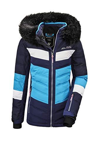 Killtec Mädchen Fiames GRLS Ski Quilted Jckt E Jacke In Daunenoptik Mit Kapuze Und Schneefang, dunkelnavy, 140