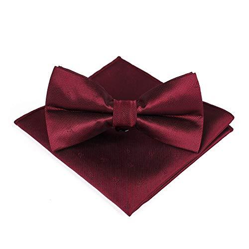 Juego de toallas de bolsillo con pajarita para hombre, color vino tinto, jacquard, para bodas, negocios, fiestas, accesorios