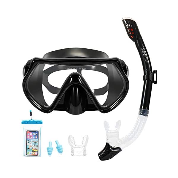 Supertrip Snorkel Set Adults and Youth,Scuba Mask and Dry Snorkel Anti-Fog Anti-Leak Design with 2 Mouthpieces 1 Waterproof Phone Pouch and 2 Earplug
