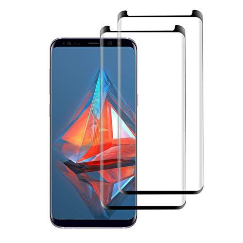 [2 Pièces] Verre Trempé pour Samsung Galaxy S9, 9H Dureté, Film de Protection d'Ecran, 3D Couverture Complèt, Anti-Rayures sans Bulles, HD Protecteur d'Ecran pour Samsung Galaxy S9 (Noir)
