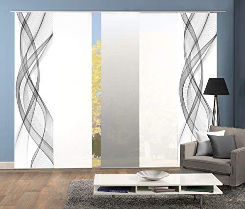 Home Fashion 95575 | 5er-Set Schiebegardinen FERROL | blickdichter Dekostoff & transparenter Halborganza | 5X jeweils 245x60 cm | Farbe: (grau)