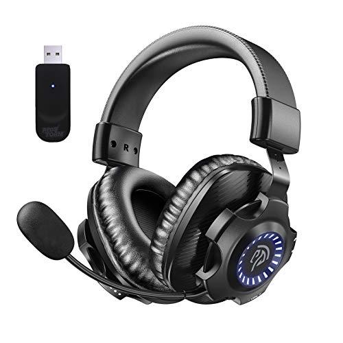 REDSTORM 2,4G Wireless PC Headset, kabelloses Gaming-Headset, Stereo-Surround Sound, Abnehmbares Noise Cancelling Mikrofon, Lautstärkeregler, RGB Licht, Gaming Kopfhörer für PC, MAC, PS4, PS5