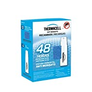 Deet free, chemical free skin lotions – the original ThermaCELL refill to create a mosquito protection area of 20 m², odourless, no spray, no fuss DURABLE - Contains 12 repellent tablets that last 4 hours each and 4 gas cartridges for 48 hours of mos...
