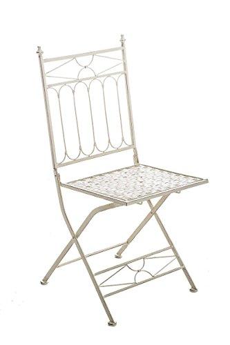 CLP Eisen-Klappstuhl ASINA Design I Klappbarer Gartenstuhl mit edlen Verzierungen I erhältlich, Farbe:antik-Creme