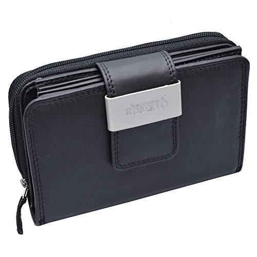 Große Business Damen Leder Geldbörsen mit RFID Schutz in choco-black mit viel Stauraum