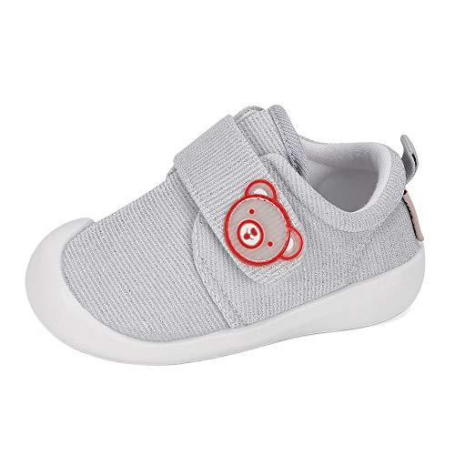Zapatos Bebe Niño Niña Primeros Pasos Zapatillas Deportivas Bebé Recién Nacido Gris, 22 EU (talla del fabricante 18)